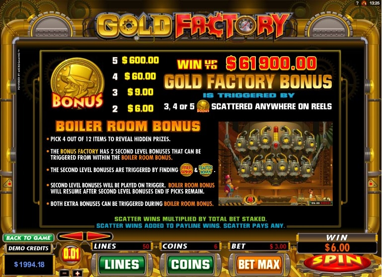 Бонусная игра в игровом автомате Gold Factory